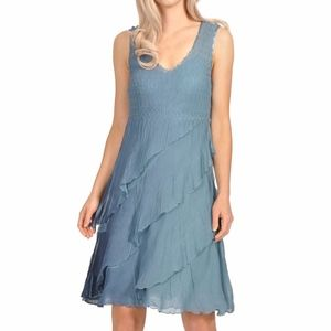 Komarov Tiered Chiffon Dress with wrap